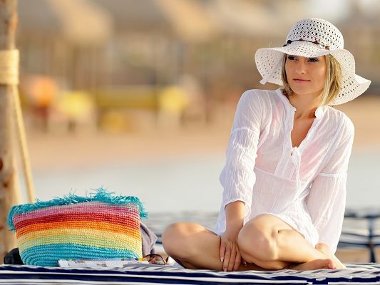 Girl on the Beach, Beautiful Girl in White Dress and Hat, Clean and Fresh Look