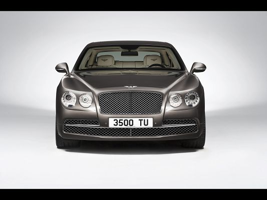 click to free download the wallpaper--Graceful Cars Image of Bentley, a Close Look at Its Flying Spur Studio Front
