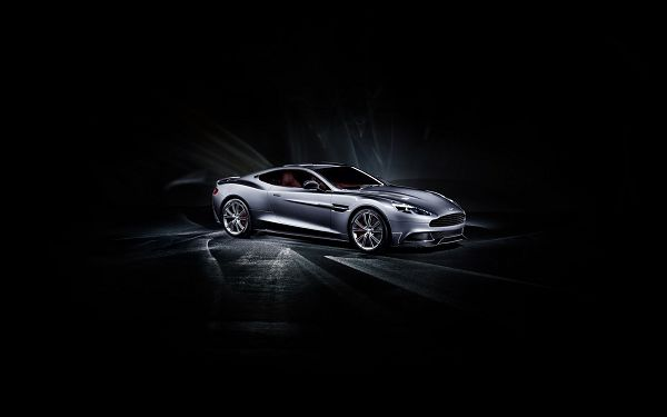 Gray Aston Matin in Complete Darkness, It is Lighted up in Glow, a Decent and Great-Looking Super Car - HD Cars Wallpaper