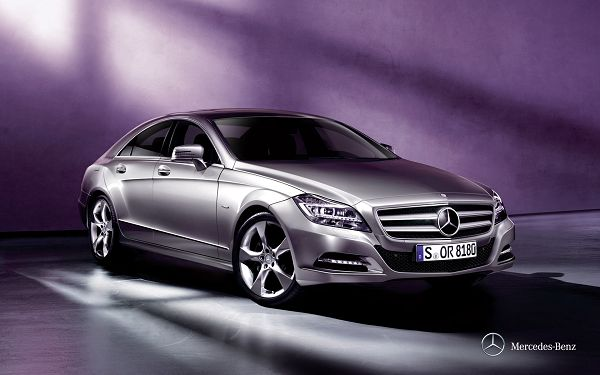 click to free download the wallpaper--Gray Benz Car in Purple Room, Sunlight is All Over It, the Car is Indeed Decent and Outstanding - HD Cars Wallpaper