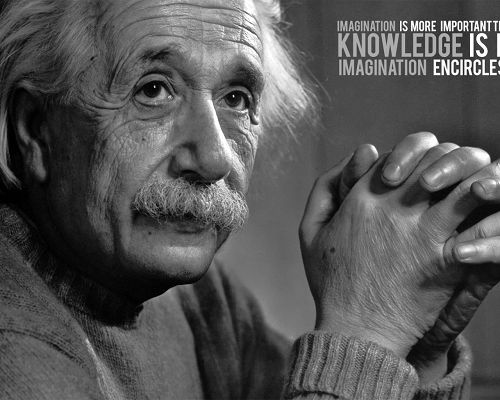 click to free download the wallpaper--Great Man Wallpaper, Albert Einstein, Imagination is More Important than Knowledge