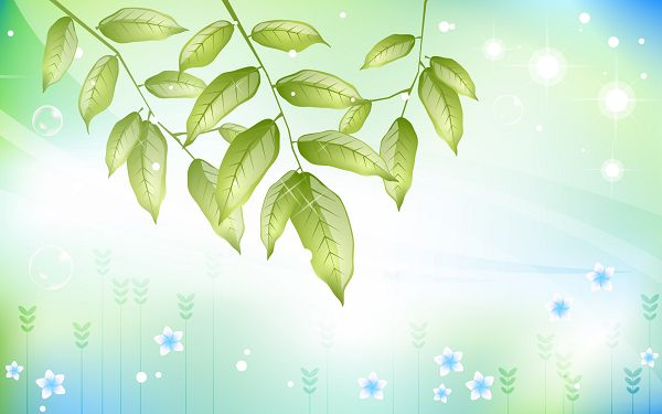 click to free download the wallpaper---Green Leaves and White Blue Flowers Happy in Singing and Flying, Is Gentle Wind Blowing? - Cartoon Flowers Wallpaper