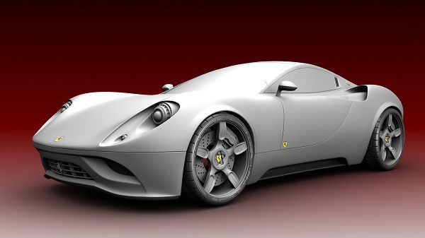 click to free download the wallpaper---Grey Ferrari Car in Spectacular Design, with Red Setting, Car is Much More Emphasized - Cars Beauty Wallpaper