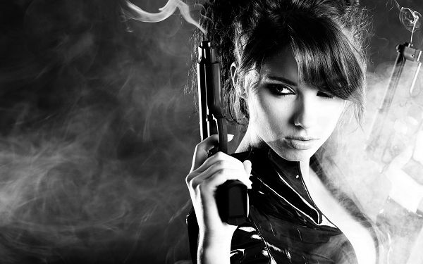 Gun Smoke Pouring Everywhere, Combined with Cold Facial Expression, She is Such a Hot Girl - Sexy Beauty Wallpaper