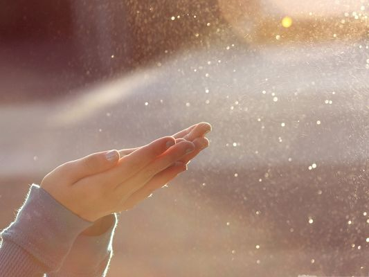 click to free download the wallpaper--HD Clean Wallpaper, Water Bokeh, Beautiful Hands Picking Them Up