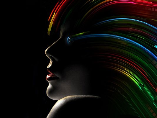 HD Creative Wallpaper, Hair Rainbow, Red Sexy Lips and Black Background