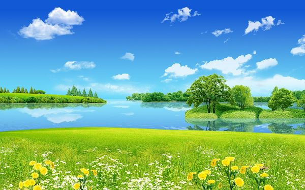 click to free download the wallpaper--HD Natural Scenery Wallpaper - Creative Summer Dreamland, the Sky and the Sea Are Quite Blue, Smiling Flowers, Everything is Turning Good