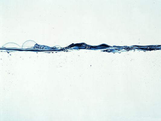 HD Water Drops Wallpaper, a Line of Blue Bubbles, Incredible Look