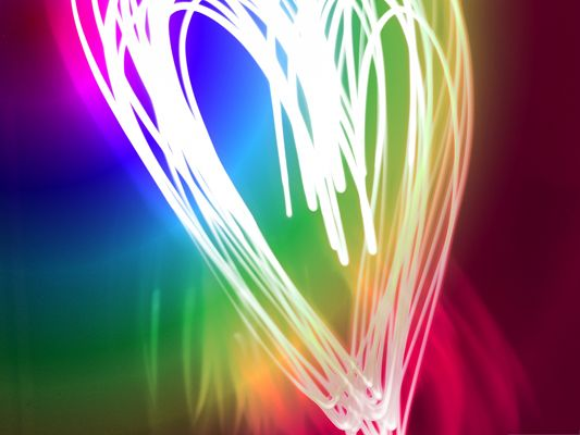 click to free download the wallpaper--HD Wide Wallpaper for Widescreen - Neon Heart with Colorful Lines