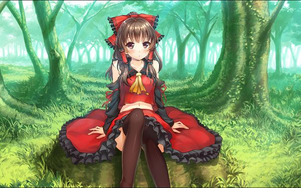 click to free download the wallpaper--Hakurei Reimu in Red Sexy Suit and Innocent Facial Expression, Totally a Lovely Forest Fairy HD Action Game Wallpaper