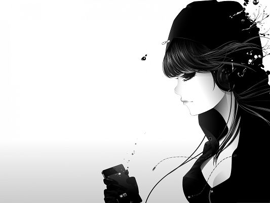 click to free download the wallpaper--Hand-Drawn Girls, Cool Girl Listening to Music, Careless About the Outside World