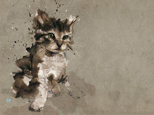 click to free download the wallpaper--Hand-Painted Animals - Cat Painting, Breaking the Wall