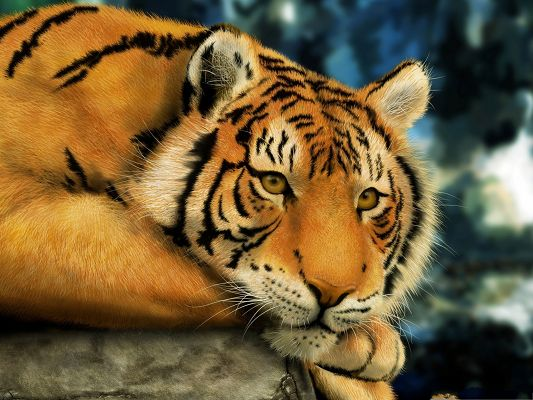 click to free download the wallpaper--Hand-Painted Cute Tiger, Brown Tiger in Relax, Comfortable Lying