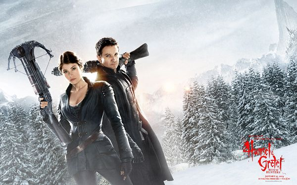 click to free download the wallpaper--Hansel and Gretel Witch Hunters 2013 in 2560x1600 Pixel, Black Suit and Snowy Scene, Both of the Two Are Cool - TV & Movies Wallpaper