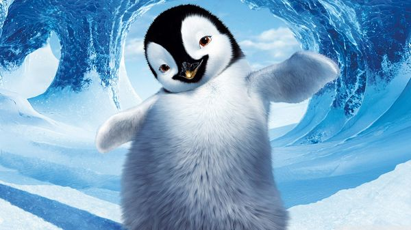 click to free download the wallpaper--Happy Feet 2 in 1920x1080 Pixel, a Penguin in a Unique Pose and Facial Expression, What a Fun and Happy Little Penguin! - TV & Movies Wallpaper