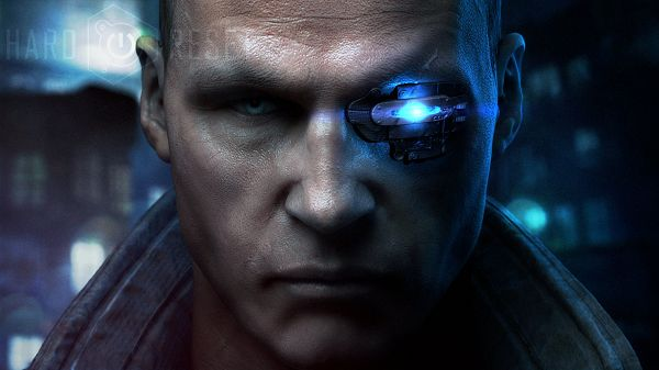 click to free download the wallpaper--Hard Reset 2012 Game Post Available in 1920x1080 Pixel, the Eye in Glass is Generating Blue Light, the Guy is Serious and Hard to Believe - TV & Movies Post