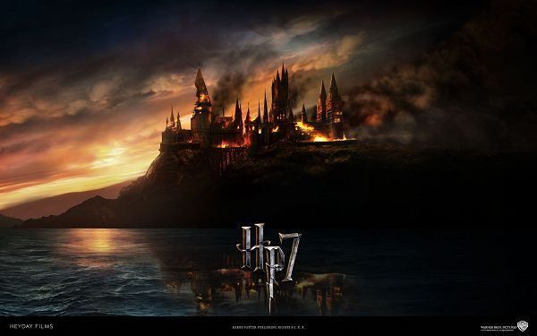 click to free download the wallpaper--Harry Potter 7 Post in 1920x1200 Pixel, a Black Boat Seemingly on Fire, Boiling Water and the Setting Sun, What is Happening? - TV & Movies Post