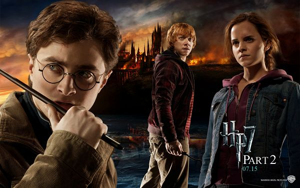 Harry Potter Deathly Hallows Part II Post in 1920x1200 Pixel, the Three Guys Won't Ever Step Back in Difficluties and Danger - TV & Movies Post