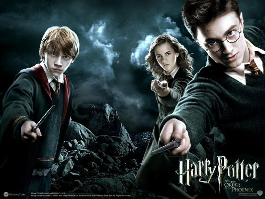 click to free download the wallpaper--Harry Potter and the Order of the Phoenix Post in 1600x1200 Pixel, the Three Kids Are Together, Must be Hard to Beat - TV & Movies Post