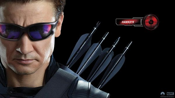 click to free download the wallpaper--Hawkeye in Avengers Movie in 1920x1080 Pixel, Black Glasses Fit Him Quite Well, He is Deep in Thought and Hard to Beat - TV & Movies Wallpaper