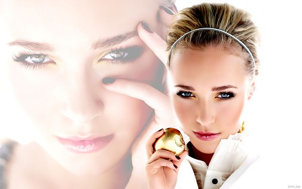 click to free download the wallpaper--Hayden Panettiere HD Post in Pixel of 1920x1200, Girl in Exquisite Cosmetics, a Golden Apple is in Hand, Her Picture is the Background - TV & Movies Post