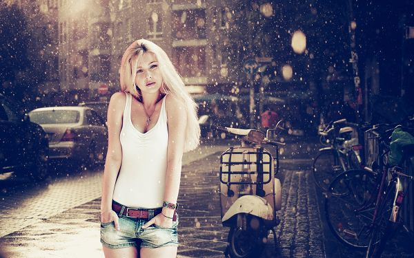 Heavy Rain is Falling, the Beauty Remains Dry and at Leisure, in Sexy Vest and Shorts, She is the None Other Attraction - HD Attractive Women Wallpaper