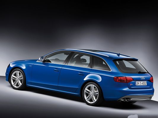 click to free download the wallpaper--High Quality Cars Picture, Blue Audi S4 Avant Car, Bright and Glowing Body
