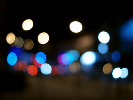 click to free download the wallpaper--High Quality Wide Wallpaper - Night Bokeh, Generating Colorful Lights