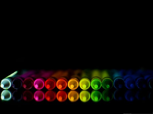 High Quality Wide Wallpaper - Rainbow Crayons on Dark Background