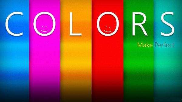click to free download the wallpaper--High Quality Wide Wallpaper - Six Colors with Six Letters, Tow Smiling Faces