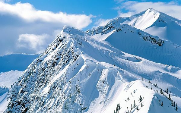 Hills Full of Thick Snow, You See a White and Pure World, At the Top, You Are Close to the Sky - Natural Scenery Wallpaper