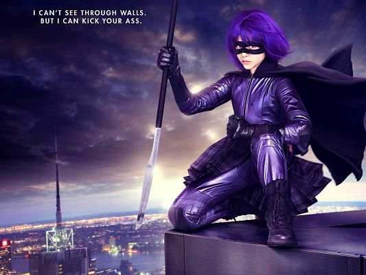 click to free download the wallpaper--Hit Girl Kick Ass Post in 1600x1200 Pixel, a Decent and Sincere Girl in All Purple, Don't Get Her Fight Against You - TV & Movies Post