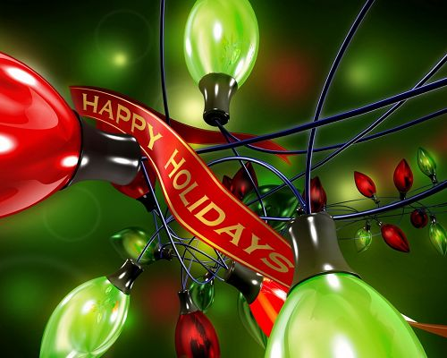 click to free download the wallpaper--Holiday Image, Colorful Lights, Green Background, Shall Spread Holiday Atmosphere