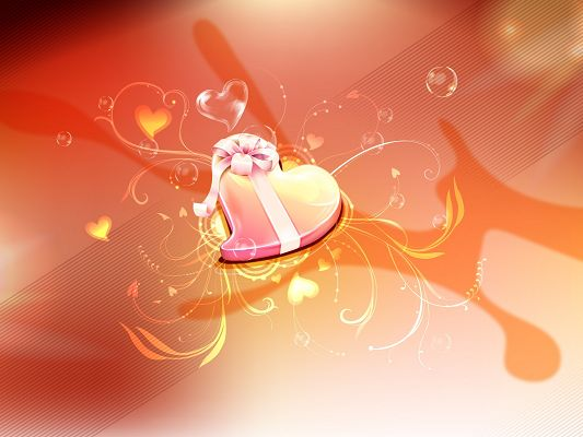 click to free download the wallpaper--Holiday Image, Heart Gift, Light Orange Background, Shall Please Any Receiver