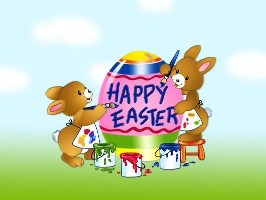 click to free download the wallpaper--Holiday Images, Easter Day is Coming, Two Rabbits Are Painting the Easter Egg, Join Them!