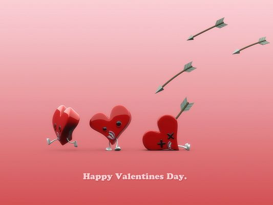 click to free download the wallpaper--Holiday Images, Valentine's Day is Around the Corner, Arrows Are Following the Hearts