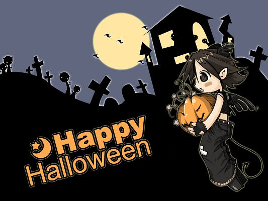 click to free download the wallpaper--Holiday Pics, Halloween Day, Scared Pumpkin and Ghosts, Dark Scene, Are You Frightened?