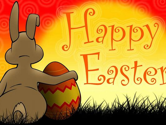 click to free download the wallpaper--Holiday Pictures, Happy Easter Day, the Rabbit Holds the Easter Egg, Golden Background