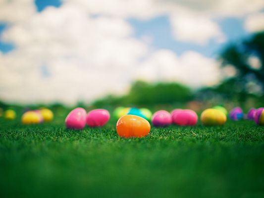 click to free download the wallpaper--Holiday Posts, Colourful Easter Eggs on Green Grass, Shall Spread Holiday Atmosphere