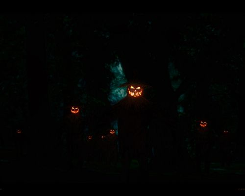 click to free download the wallpaper--Holiday Wallpaper, Laughing Pumpkins Walking Toward You, Halloween's Day