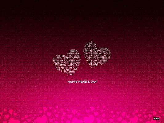Holiday Wallpapers, Two Hearts on Pink Background, Happy Heart's Day!