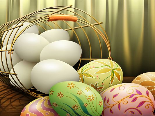 click to free download the wallpaper--Holidays Wallpaper, Painted Easter Eggs, Spreading Holiday Atmosphere