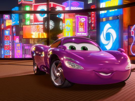 click to free download the wallpaper--Holley Shiftwell Post in Cars 2 Available in 1600x1200 Pixel, a Decent and Graceful Purple Car, She is Cute and Looking Good - TV & Movies Post