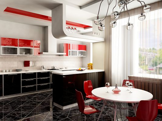 click to free download the wallpaper--Home Design Image, Kitchen in Red, Great Nature Landscape Outdoor