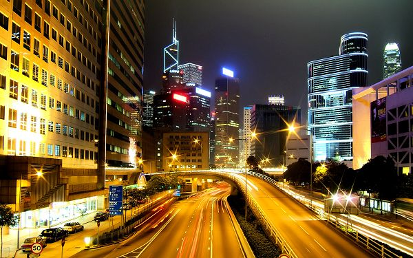 Hong Kong City Nights Post in Pixel of 1920x1200, In Somewhere, Night is Always Better, Just Enjoy the Scene and Time - HD Natural Scenery Wallpaper