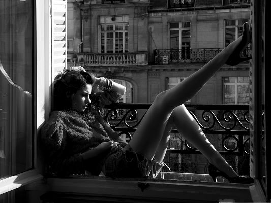 Hot Girl Picture, Young Sexy Girl Sitting Near the Window, Impressive Long Legs