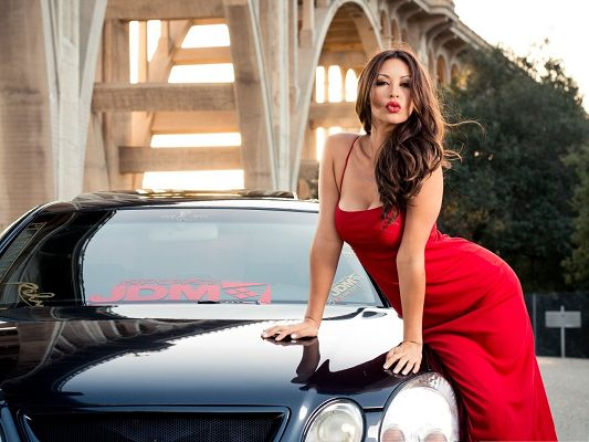 click to free download the wallpaper--Hot Girl and Car, Beautiful Model in Appealing Pose, Speaking for the Super Car