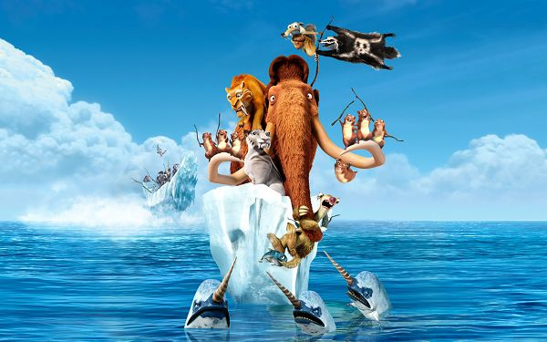 Ice Age 4 Continental Drift in 1920x1200 Pixel, a Group of Animals on One Piece of Ice, All in Different Facial Expressions - TV & Movies Wallpaper