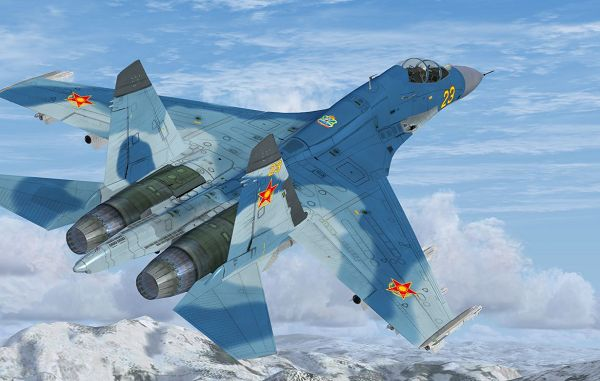 click to free download the wallpaper--Image of Air Show, Su-27 Flanker B+ in Flight
