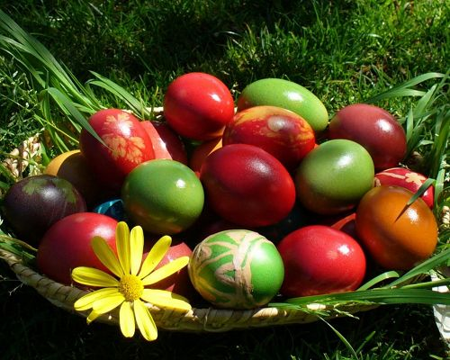 click to free download the wallpaper--Image of Holidays, a Basket of Easter Eggs, Quite Impressive Among Green Grass
